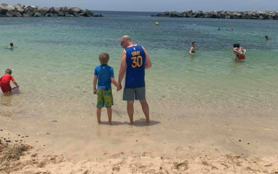 Lanzarote beach with family